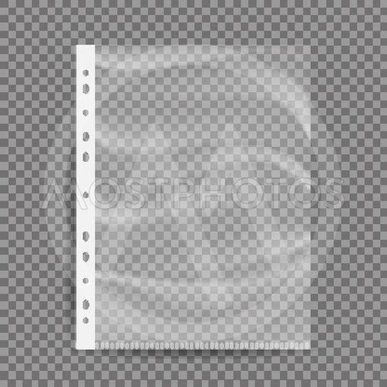 Cellophane Business File Vector. A4 Size. Empty Plastic...