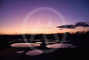 Vattenpölar liknande månlandskap vid solnedgången