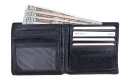 Black Wallet with Exposed American Cash