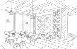 Interior sketch of Moldavian restaurant interior