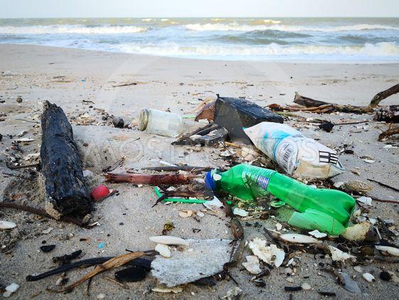 other garbage washes up on Songkhla beach.