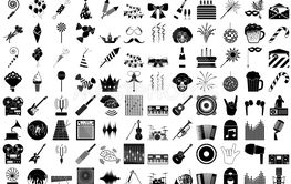 Set of 120 icons. Party, Music, Cinema.