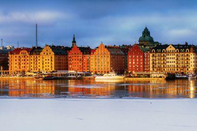 Stockholm Kungsholmen in evening sun in winter.