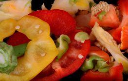 Peelings from preparing peppers to eat.