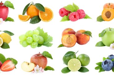 Food collection fruits apple berries apples oranges...