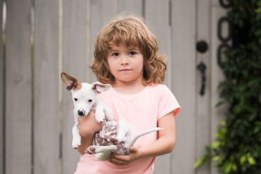 Child with pet puppy dog. Protection of animals,...