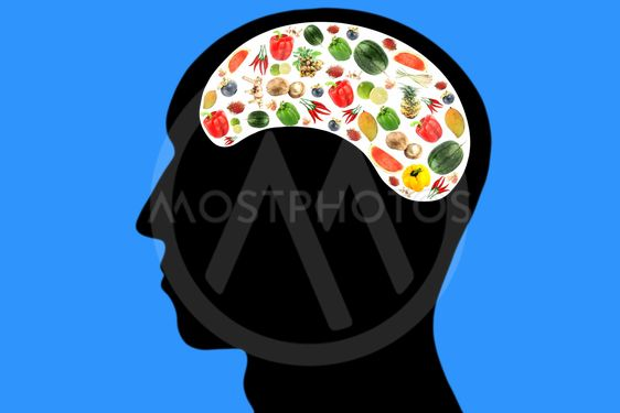 Vegetables and fruits in Head on Blue Background.