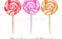 Watercolor tasty lollipop in vintage style
