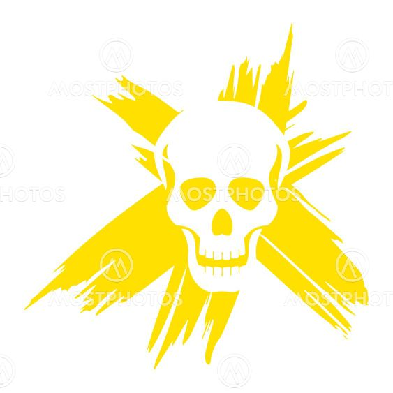 Grunge skull with ironic laugh