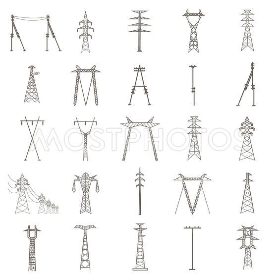 High voltage electric line pylon. Icon set suitable for...