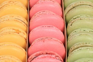 Macarons macaroons cookies dessert in a box square from...