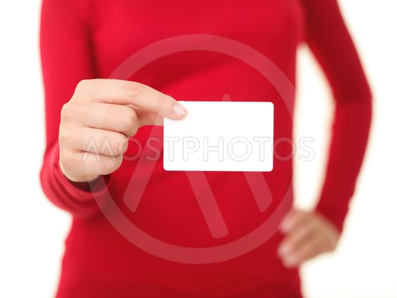 Person holding business card