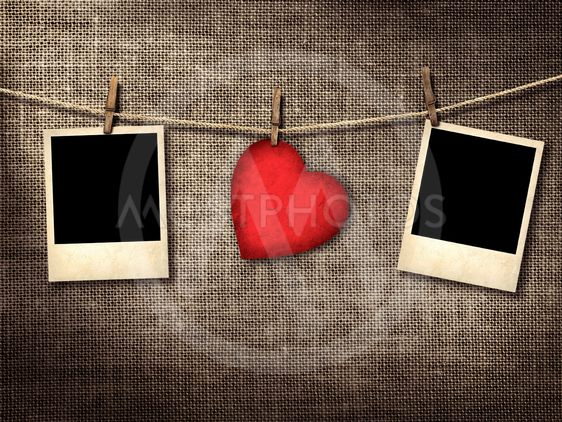 Old style photo and Valentine card heart shaped from old...