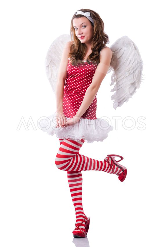 Angel in red clothing on white