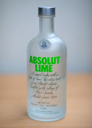 A bottle Absolut Vodka on the table
