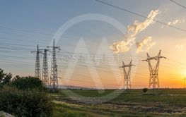 High-voltage power lines in the land around city of Plovdiv