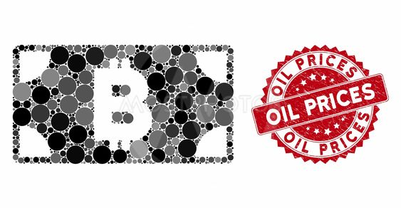 Collage Bitcoin Cash Banknote with Grunge Oil Prices Stamp