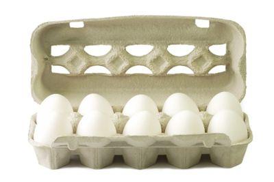 White eggs in a cardboard