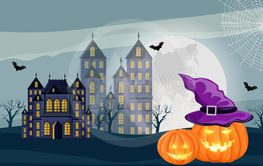 Halloween forest with castle, pumpkins and full moon