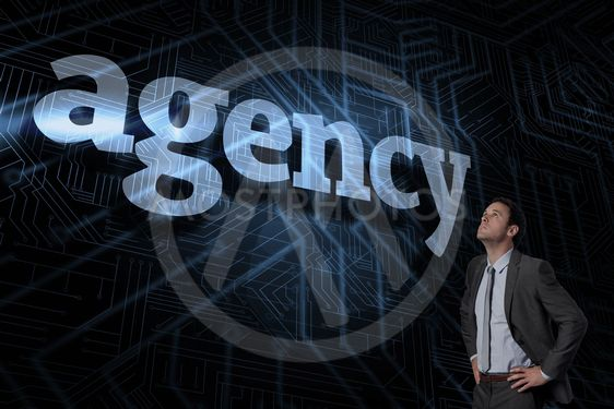 Agency against futuristic black and blue background