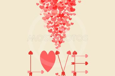 Retro love card with heart and arrows