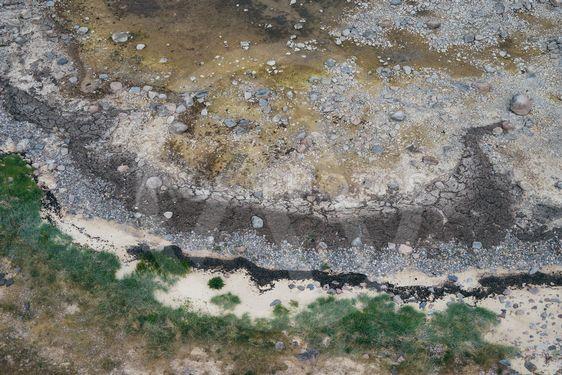 Wild sea coastline with seaweed and stones