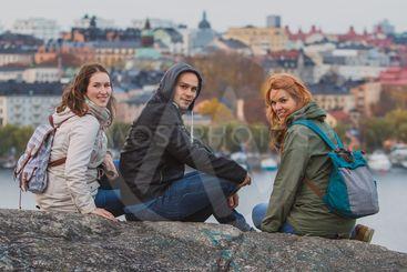 Group posing on Skinnarviksberget