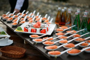outdoor buffet sushi and rolls. event services.