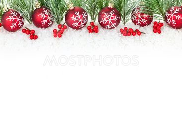 Christmas border with red ornaments