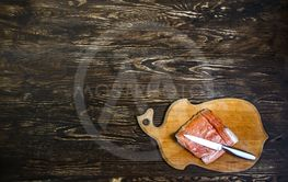 Still Life With salted salmon fillet