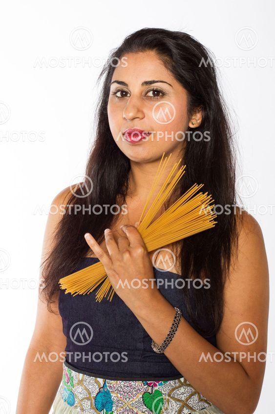 Pretty Indian Woman with Spaghetti