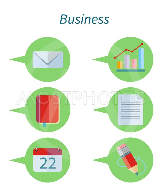 Business Concept Flat Design Set Icon