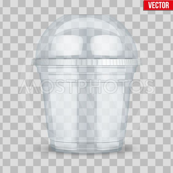 Clear plastic cup with sphere dome cap.