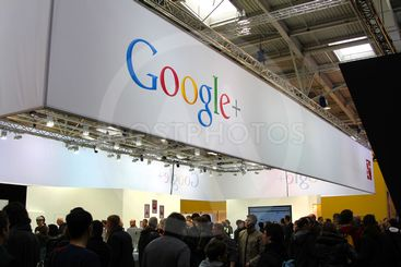 HANNOVER, GERMANY - MARCH 10: stand of Google+ on March...