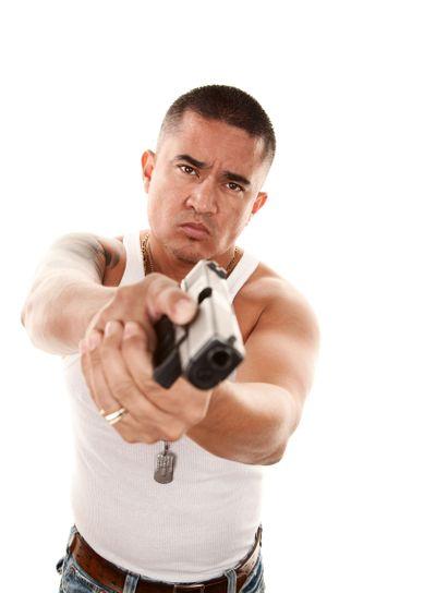 Hispanic Man Pointing Gun