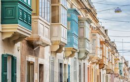Many colourful balconies, typical for Malta.