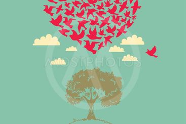 The heart of the birds. Love colorful card. Can be used...