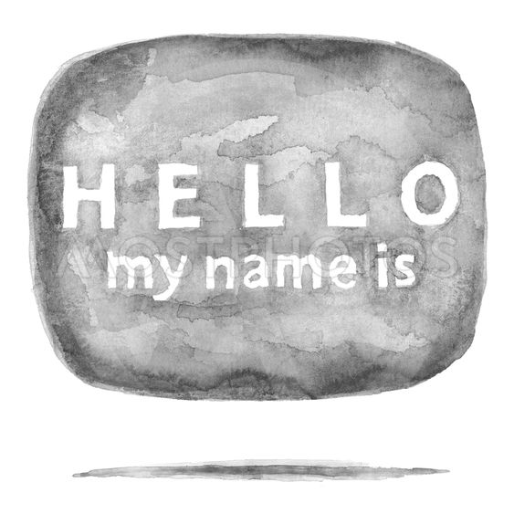 Gray square speech bubble icon HELLO My Name Is with...