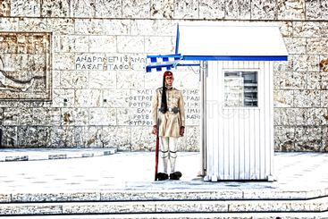 Changing guards near parliament in athens Greece