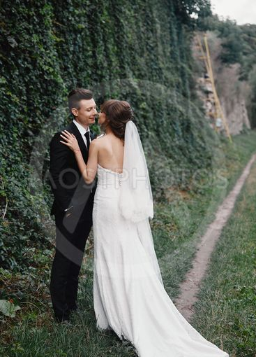 Bride and groom in a park kissing.couple newlyweds bride...