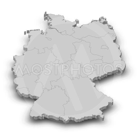 Map - Germany - 3D-Illustration