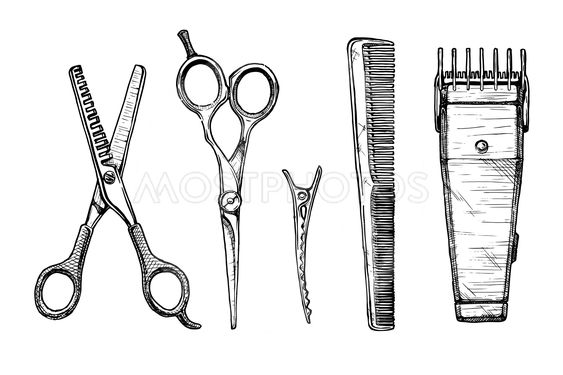 Hair Cutting Tools Drawing 2