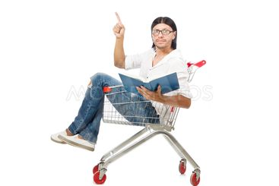 Shopping cart with supermarket basket