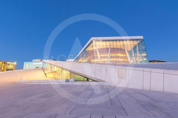 Opera House in Oslo at blue hour