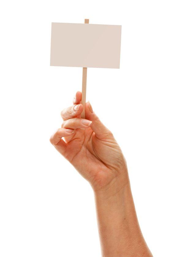 Kvinde bedrift tomme hvide tegn isoleret på hvid
