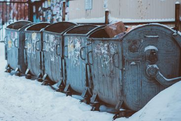 old metal trash cans are in the yard
