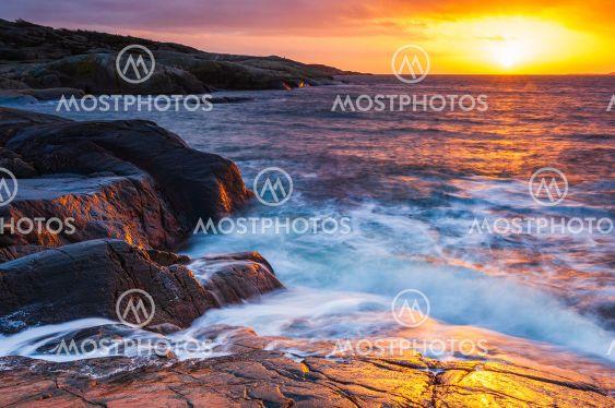 Coastal scenery at sunset, Sweden