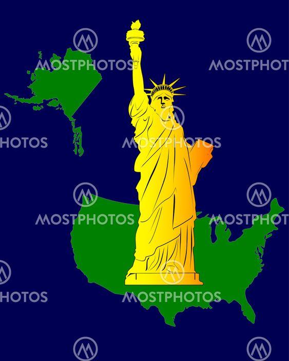 Kort Over Usa Med Frihedsgu Fra Yuriy Mayboroda Mostphotos