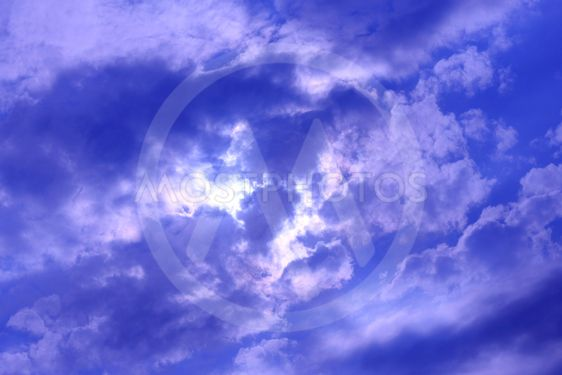 Stormy white cloud on blue sky. Cloudscape background