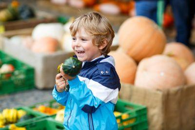 Little blond kid boy holding green pumpkin